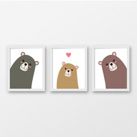 Printable Nursery Art / Bear Family Nursery Wall Art Prints / Three Bears Nursery Decor /  Kids Room Wall Animal Art / Forest Nursery Art