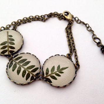 Real leaf bracelet - Green leaf jewelry - with pressed real handpicked leaf and glass cabochons over beige leather