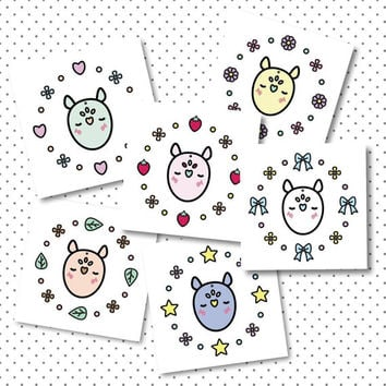 Full Set Momo Printables, Download, Cute Pastel Whimsical Print, Kawaii Illustration Cards, Nursery Printable, Childrens