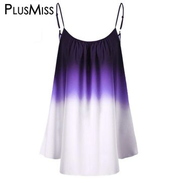 Plus Size 5xl 4xl Women Clothing Ombre Print Cami Top Tie Dye Camisole Summer 2017 Oversize Sleeveless Beach Vest Ladies