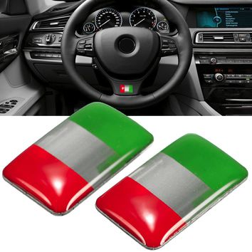 Pair Universal Italy Flag Sticker Labeling Decor Self-adhesive For Automobile Car 18x11mm