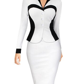 Plus Size Women One Piece Outfits Long Sleeve V Neck Knee Length Spandex Dress White Striped Elegant Office Formal Work Suit