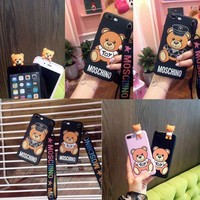 ONETOW Moschino Teddy Bear Silicone TPU Case For Apple iPhone 6 6s 7/8 Plus iphone X