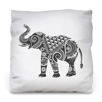 Ornamental Elephant Outdoor Throw Pillow