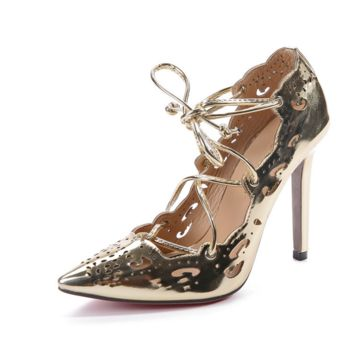 Pointed hollow strap sexy high heels female single shoes