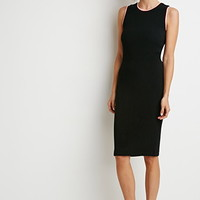 Ribbed Knit Varsity-Trim Dress
