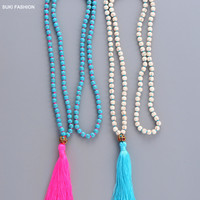 Exclusive Handmade Turquoise with Tassel Necklace Nepal Charm Bead Necklace for WomenTurquoise Jewelry Long Necklace Tassel