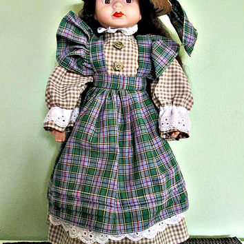 Collectible porcelain doll, Black hair, green dress, Home Decor