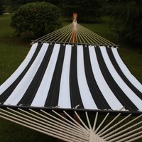 Sunnydaze Quilted Double Fabric Hammock w/ Spreader Bar-Black and Whit