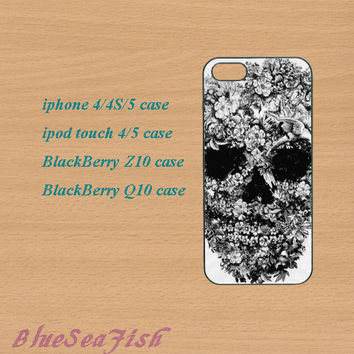 iphone 4 case,iphone 5 case,ipod touch 4 case,ipod touch 5 case,Blackberry z10 case,Blackberry q10,Floral Skull,Sugar skull,in plastic.