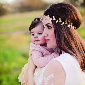 Mommy and Baby Gold Leaf Headband Barrette Scrunchy Hair accessories Peace Olive branch Baby Girl Cute Leaves hair band