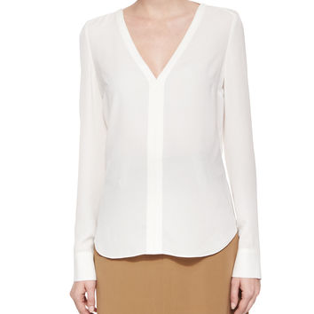 Cleary Silk V-Neck Top, Eggshell, Size: