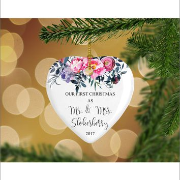 Personalized Floral Our First Christmas as Mr. & Mrs. Christmas Ornament- Wedding Ornament - Christmas Gift Ideas - HO0002