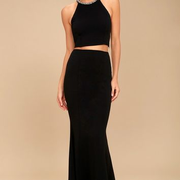 Shining Example Black Rhinestone Two-Piece Maxi Dress