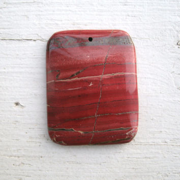 Red Jasper Pendant Beads - Only one left!  polished, drilled, Red Jasper, stone pendant, DIY jewelry, pendant supply, rocks, wide rectangle