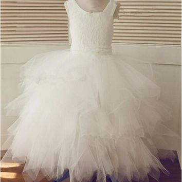Brand New Flower Girl Dresses with Bow Real Ball Gown Party Pageant Communion Dress for Wedding Little Girls Kids/Children Dress