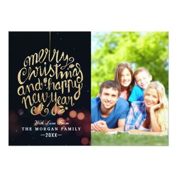 Black Gold Christmas Happy New Year Greeting Photo Card