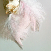 Pink Feather Earrings, Handmade Feather Earrings, Handmade Feather Earrings Grey and White