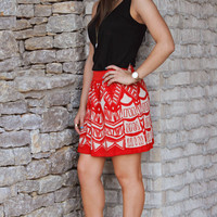 Tribal Printed Knit Circle Skirt