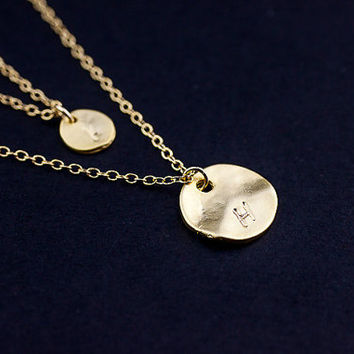 Double Layered Necklace. initial disc gold filled necklace. two personalized discs necklace. mother, sister, friendship, couple necklace.