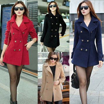 Womens Fashion Winter Slim Fit Double-breasted Wool Trench Coat Outwear Jacket = 1956216644