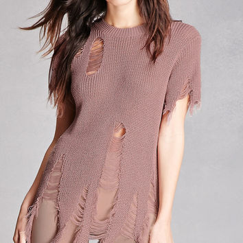 Distressed Open-Knit Tunic