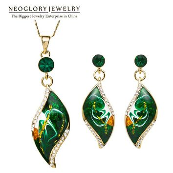 Neoglory Light Yellow Gold Color Enamel African Jewelry Set