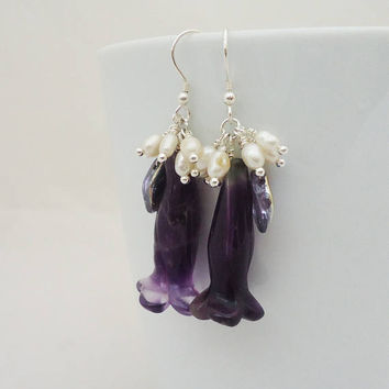 Amethyst and Freshwater Pearls Earrings, Flower Shaped Amethyst Earrings, Amethyst Cluster Earrings, Purple and White Earrings