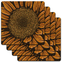 Sunflower Low Profile Cork Coaster Set