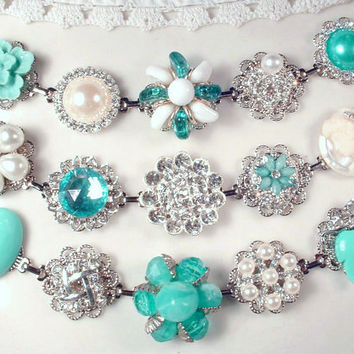 Turquoise Tiffany Blue, Pearl & Rhinestone Bridesmaids Bracelet Set, 3 OOAK Silver Vintage Cluster Earring Jewelry Wedding Gifts, Mint Charm
