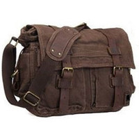 Brown Canvas Leather Laptop Cross Body Messenger Bag for Women