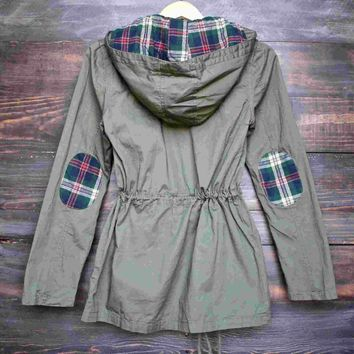 womens plaid hooded military parka jacket - olive green Day-First™