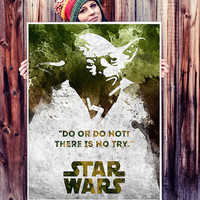 Star Wars Master Yoda poster. Movie poster. Star Wars quote. Star Wars Yoda Poster. Black and white. Handmade poster.