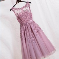Robe De Soiree Red Pink Blue Beading Lace Slit Short Evening Dresses women luxury Formal Gown Prom Dresses robe rouge GF100