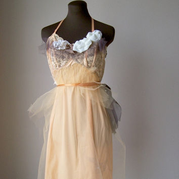 Romantic Peach Alternative Wedding Dress Mad Men Prom by colorada