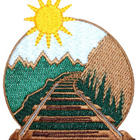 ID #9102 Railroad Locomotive Train Railway Mountain View Iron On Applique Patch