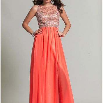 [129.99] Shining Chiffon & Tulle Bateau Neckline A-Line Prom Dresses With Beads - dressilyme.com