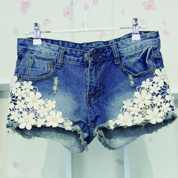 Crochet Lace Ripped Mid Waist Denim Shorts