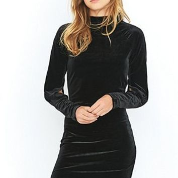 Cheap Monday Chant Black Velvet Slit Midi Dress - Urban Outfitters