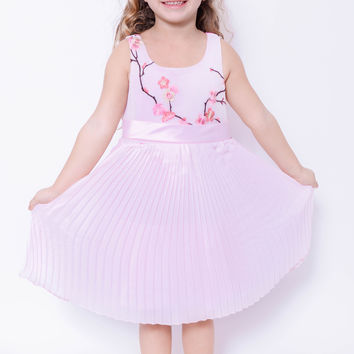 Koma-Va Girl's Pink  Cherry Blossom Tank Top Dress w/ Pleated Skirt