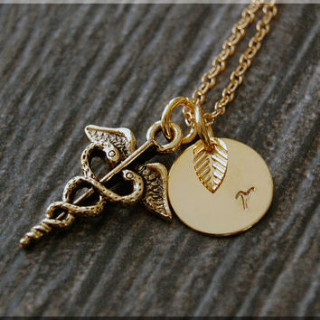 Gold Caduceus Charm Necklace, Initial Charm Necklace, Personalized Necklace, Caduceus Charm, Caduceus Pendant, Medical Field Jewelry