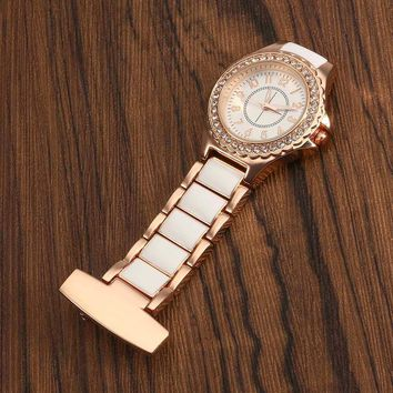 Rose Gold Nurse Pocketed Watch Elegant Vintage Stainless Steel Clip-on Quartz Watch Women Fashion Crystal Fob Watches