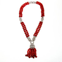 KJL, Red Crystal, and Rhinestone, Statement Necklace, Tassel, Couture, Designer, Vintage Jewelry, Kenneth Jay Lane