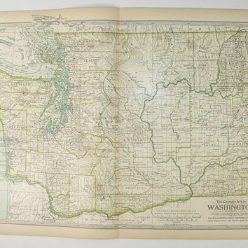 Vintage Map Washington 1901 Century Map, Pacific Northwest State Map, Antique WA Map, 1st Anniversary Gift for Couple, Washington Wall Map