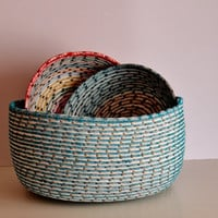 Modern Multicolour Basket , Bread/Fruit Basket/Bowl, Handmade Multicolour Basket