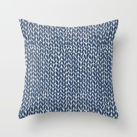 Hand Knit Navy Throw Pillow by Project M