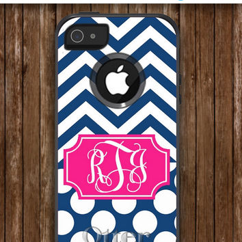 Iphone 5 Case Monogrammed OtterBox Commuter Personalized Phone Case - iPhone 4/4S, iPhone 5/5S, iPhone 5C - Chevron & Dots Pattern