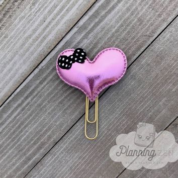 Planner Clip Puffy Pink Heart with Bow