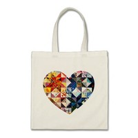 Colorful Patchwork Quilt Heart Budget Tote Bag