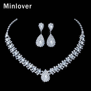 Minlover Crystal Teardrop Wedding Jewelry Sets Rhinetone Choker Necklace and Earrings Bridal Jewelry Sets for Women TL001
